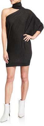 Brunello Cucinelli Sparkling Cashmere One-Sleeve Dress