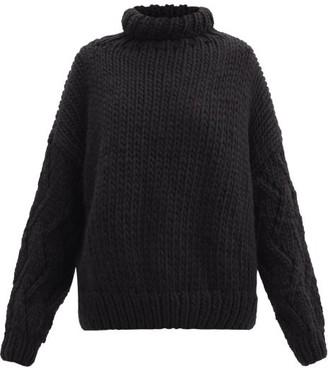 Mr. Mittens Roll-neck Balloon-sleeve Wool Sweater - Black