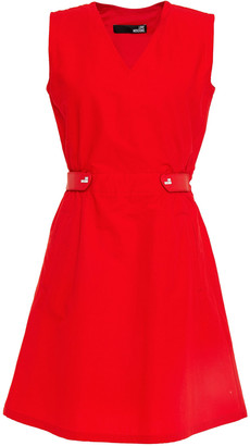 Love Moschino Rubber-trimmed Cotton And Linen-blend Mini Dress