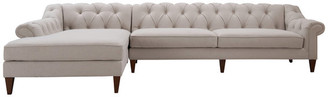 Acg Green Group Tufted Chesterfield Sectional Sofa With Chaise, Cream Beige Linen, LAF