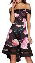 Quiz Floral Dip Hem A-Line Dress