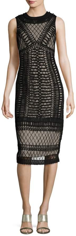 Alice + Olivia Women's Nat Mesh Embellished Sheath Dress