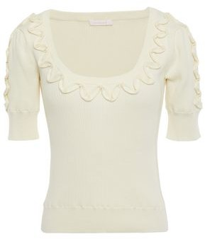 See by Chloe Ruffle-trimmed Ribbed Cotton Top