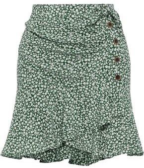 Veronica Beard Kaia Wrap-effect Knotted Floral-print Silk-crepe Mini Skirt