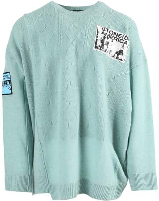 Raf Simons over-sized crewneck patch sweater light blue
