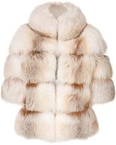 DSquared Dsquared2 Arctic Fox Fur Coat with Crystal Trim