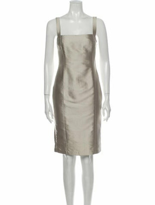 Ralph Lauren Square Neckline Knee-Length Dress Grey
