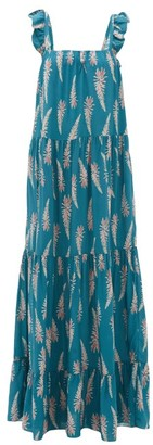 Adriana Degreas Aloe-print Square-neckline Twill Dress - Blue Print