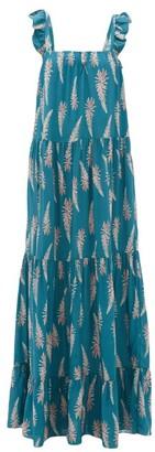 Adriana Degreas Aloe-print Square-neckline Twill Dress - Womens - Blue Print