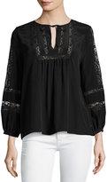 Joie Durango Lace-Inset Silk Top, Black