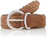Barneys New York Men's Braided Suede Belt-TAN