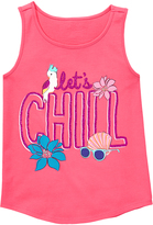 Gymboree Bright Coral 'Let's Chill' Graphic Tank - Girls