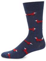 Black Brown 1826 Cotton-Blend Fox Socks