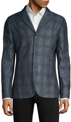 John Varvatos Plaid Linen-Blend Tailored Jacket