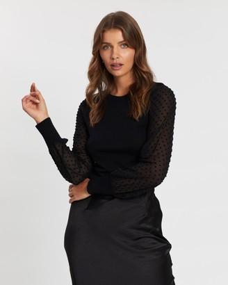 Atmos & Here Darlene Sheer Knit Dot Top