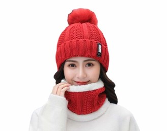 DEBAIJIA Women Hat Scarf Gloves Set Lined With Velvet Cozy Outdoor Cute Elk Stripes Design Cartoon Woven Pattern Winter Casual Warm Soft Christmas Suitable for Adult Female Fashion 3 in 1 Gift Set