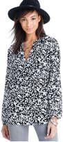 Joe Fresh Women's Print Peasant Top, Black 3 (Size XS)