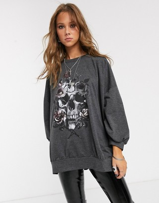 Religion virtuous oversized sweatshirt in wreath print