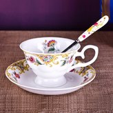 KHSKX Tangshan style bone hina offee Teaup Peony wedding flowers sent British up and sauer set spoons