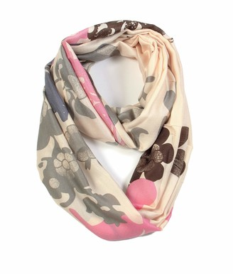 Scarfand's Vibrant Colored Artistic Painting & Graphic Print Infinity Fashion Scarf - Beige - One Size