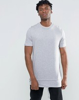 Asos Super Oversized Sleeveless T-Shirt With Drawcord And Layered Hem In Gray Marl