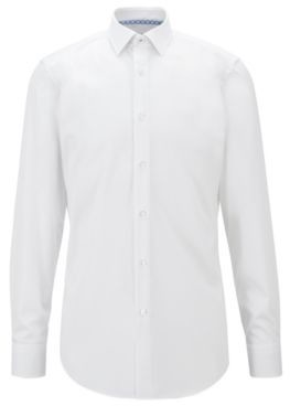 HUGO BOSS Easy Iron Slim Fit Shirt In Cotton Poplin - White