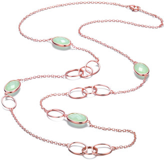 Genevive 14K Rose Over Silver Cz 30In Necklace