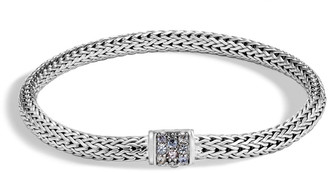 John Hardy Classic Chain Extra Small Pave Pusher Clasp Bracelet