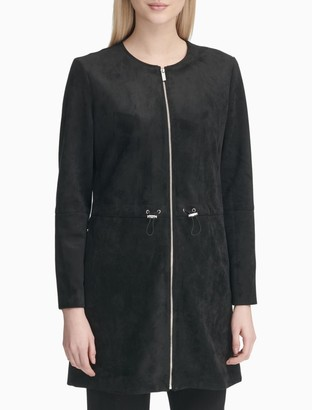Calvin Klein Faux Suede Zip Front Long Jacket