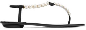 Rene Caovilla Embellished Leather Sandals - Black
