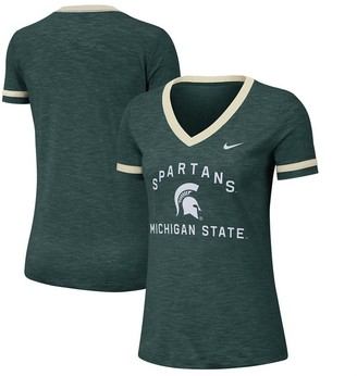 Nike Women's Heathered Green Michigan State Spartans Performance Cotton Slub Retro Fan V-Neck T-Shirt