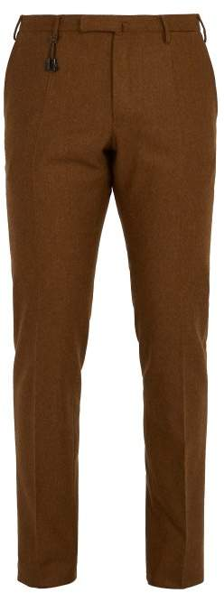 Incotex Slim Leg Wool Trousers - Mens - Brown