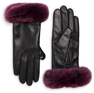 Surell Rex Rabbit Fur and Leather Gloves