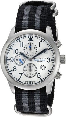 Momentum Men's Sports Watch | Flatline Chrono Adventure Watch Stainless Steel Japanese-Quartz Nylon Strap Silver 22 (Model: 1M-SN34LS7S)