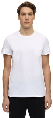 Balmain Embossed Sleeves Cotton Jersey T-Shirt