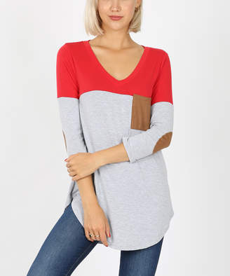 Zenana Women's Tee Shirts RUBY - Ruby & Gray Color Block Elbow-Patch Pocket V-Neck Tee - Women & Plus