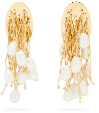 Jil Sander Pearl & Nail-embellished Earrings - Womens - Gold
