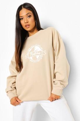 boohoo Petite Earth Print Oversized Sweatshirt