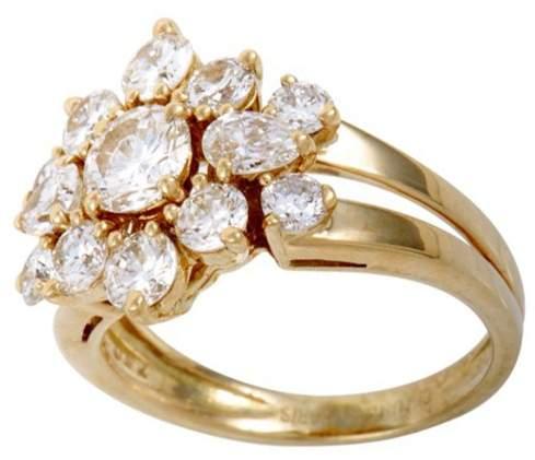 Chaumet 18K Yellow Gold & Diamond Flower Ring Size 6.0