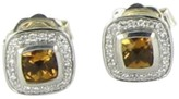David Yurman Color Classics Sterling Silver 0.21 Ct Diamond and Citrine Stud Earrings