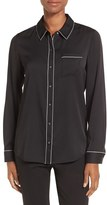 Nordstrom Women's Piped Stretch Silk Blouse