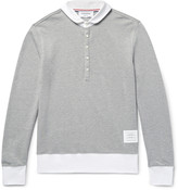 Thom Browne Contrast-Trimmed Penny-Collar Cotton-Piqué Polo Shirt