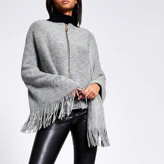 River Island Womens Grey asymmetric zip front knitted cape