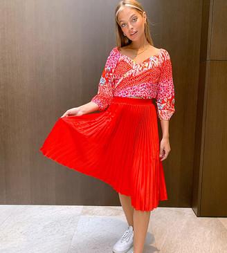 Outrageous Fortune Petite pleated midi skirt in fucshia