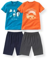 La Redoute Collections Pack of 2 Cotton Short Pyjamas with Beach Print, 10-16 Years