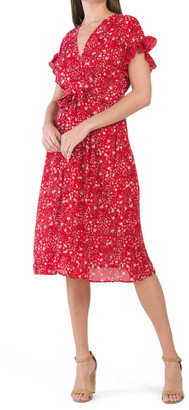 Ruffle Sleeve Tie Waist Midi Dress