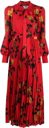 MSGM Rose-Print Tie-Waist Pleated Midi Dress