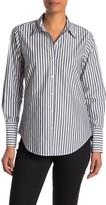 Nili Lotan Helen Stripe Print Cotton Button Down Shirt