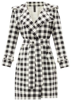 Norma Kamali Double-breasted Gingham Trench Coat - Black White