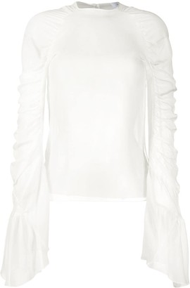 Redemption Ruched Long-Sleeve Silk Blouse